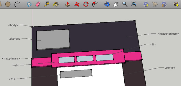 Website prototype built in Google Sketchup