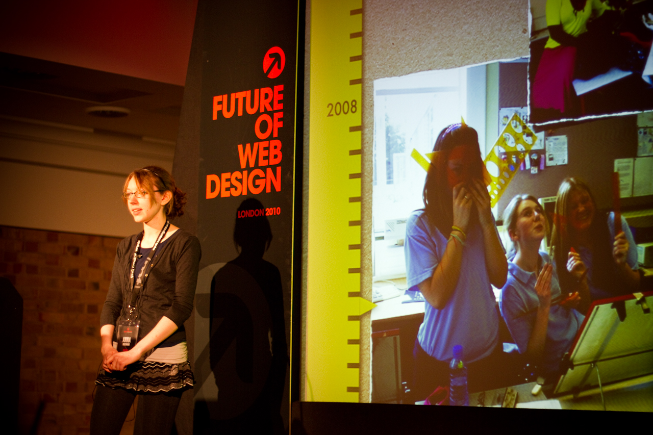 Photo of me talking at Future of Web Design