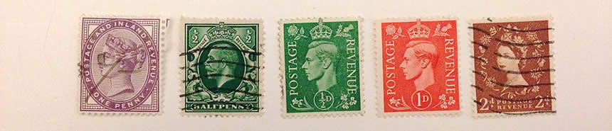 A photo of 5 stamps from the United Kingdom