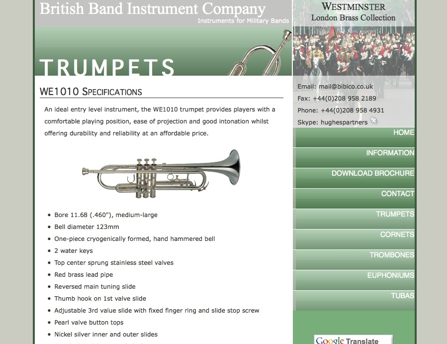 Screenshot of the British Band Instrument Company website