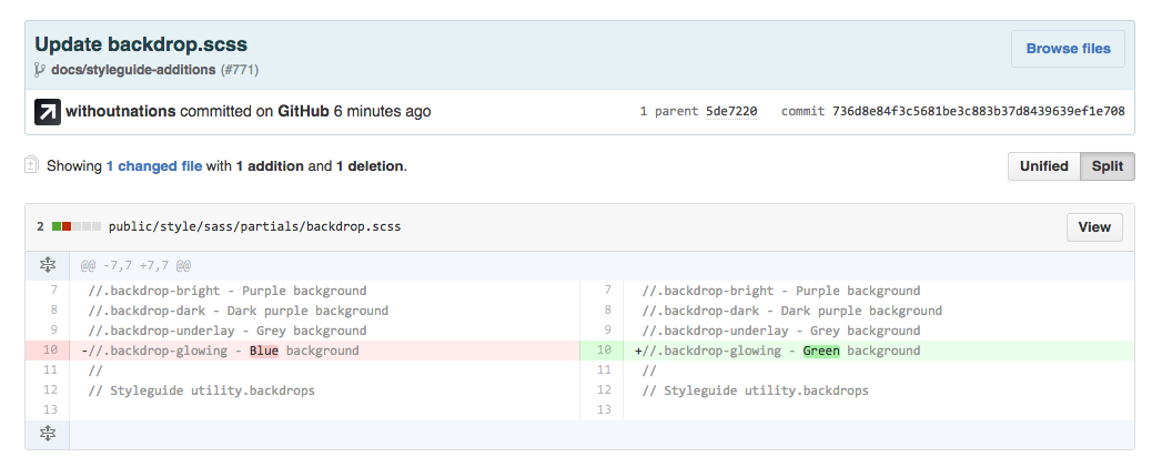 A screenshot of a pull request where my label for a blue background has been changed to green.